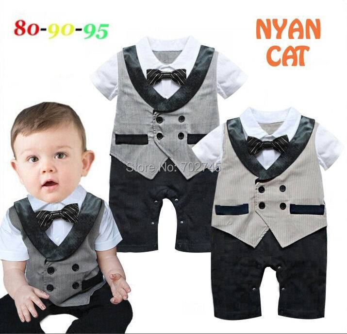 2015 Summer New Baby Romper Gentlemen Fake Waistcoat Short Sleeve One Piece Jumpsuit 6-24M 13519