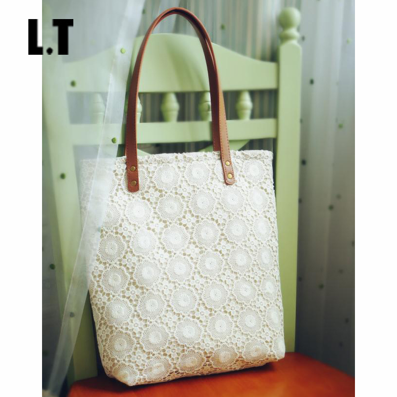 Women Shabby Chic Lace Handbags Handmade Etsy Vintage Retro Wedding Crochet Cotton Lace Feminine Leather Handle Big Totes Bags(China (Mainland))