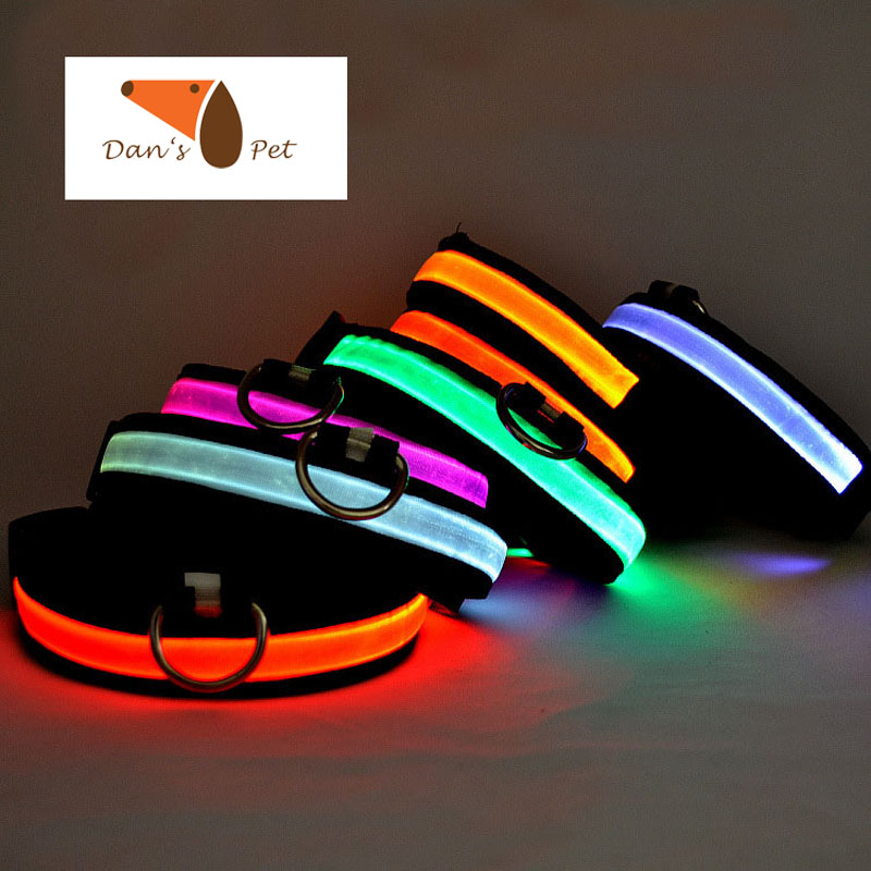 Nylon Colorful Pet 3 Flash Modes LED Dog Collar,Night Safety Flashing Pet Goods Direct Chain For Dog Cat Rabbit Collars Harness(China (Mainland))