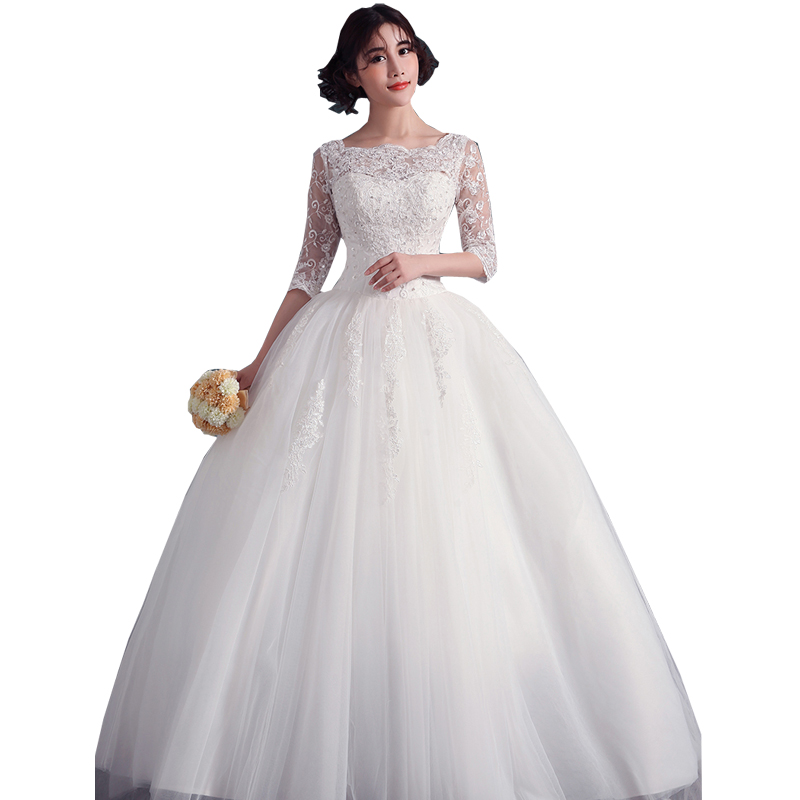 Lace ball gown wedding dresses women floor length wedding for Wedding dress big size