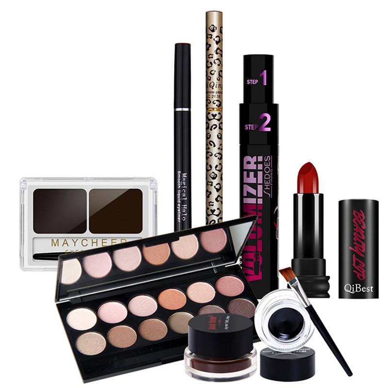 12 Color Matte Eye Shadow Palette+Eyebrow+Pencil Eyebrow Powder+Double Effect Mascara+Eyeliner Gel+eye liner liquid+Lipstick