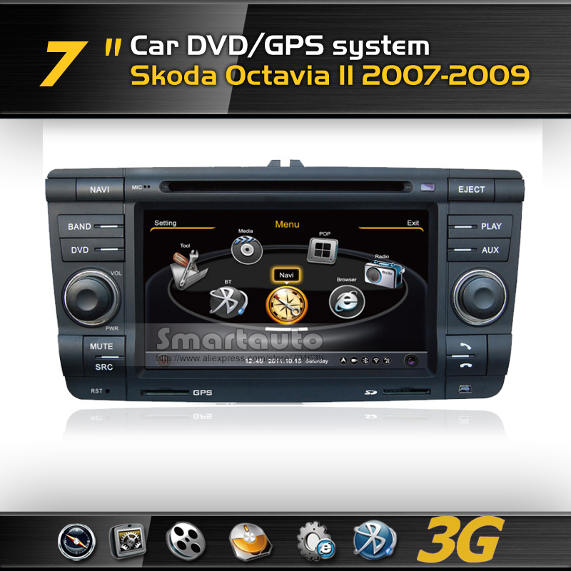 A8 1GMHZ CPU,DDR2 512M,Virtual 20 CD,4G memory,3G internet,Car DVD GPS for Skoda Octavia II 2007-2009,Support Rearview Camera(China (Mainland))
