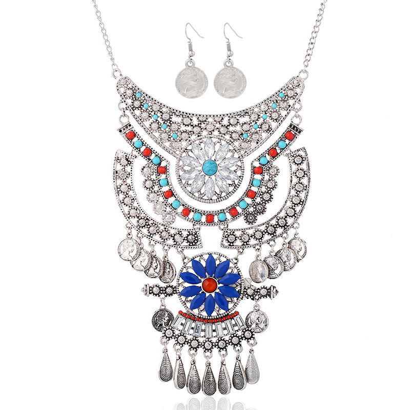 Women Boho Necklace Set Female Retro Water Drop Tassel Coin Colorful Resin Jewelry Set Maxi Necklace Choker Chain Collier Femme(China (Mainland))