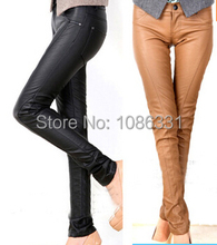 2015 New Autumn Spring Women Fashion Causal Slim Pants Female Faux PU Patchwork Pencil Fall Winter Lady Trousers Black P189(China (Mainland))
