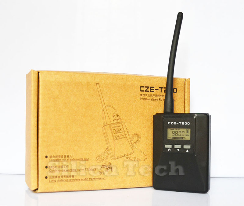 CZE-T200 0.2W Portable FM Transmitter radio broadcast Stereo/Mono Power adjustable for Meeting/Tourism/Church/School(Hong Kong)