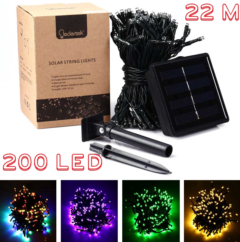 200 LED 22M Solar Lamp Fairy String Lights LederTEK Power Outdoor Lighting 8 Modes Waterproof For Garden Light LED Strip Light(China (Mainland))