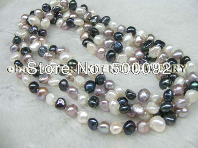 120cm  multicolor freshwater pearl necklace free shipping<br><br>Aliexpress