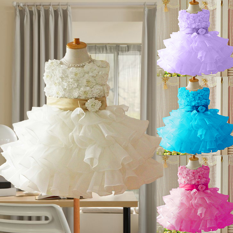 Hot Sale! 2015 Toddler 3D children girls rose princess dress sleeveless dress tutu kids baby girl flower dress. Top quality(China (Mainland))