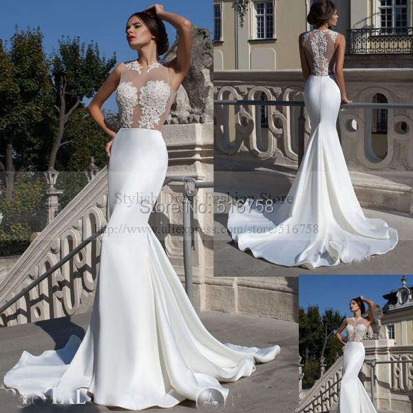 Mermaid Wedding Dresses With Long Trains : Bridal gowns beaded long train sheer top sexy mermaid wedding dresses