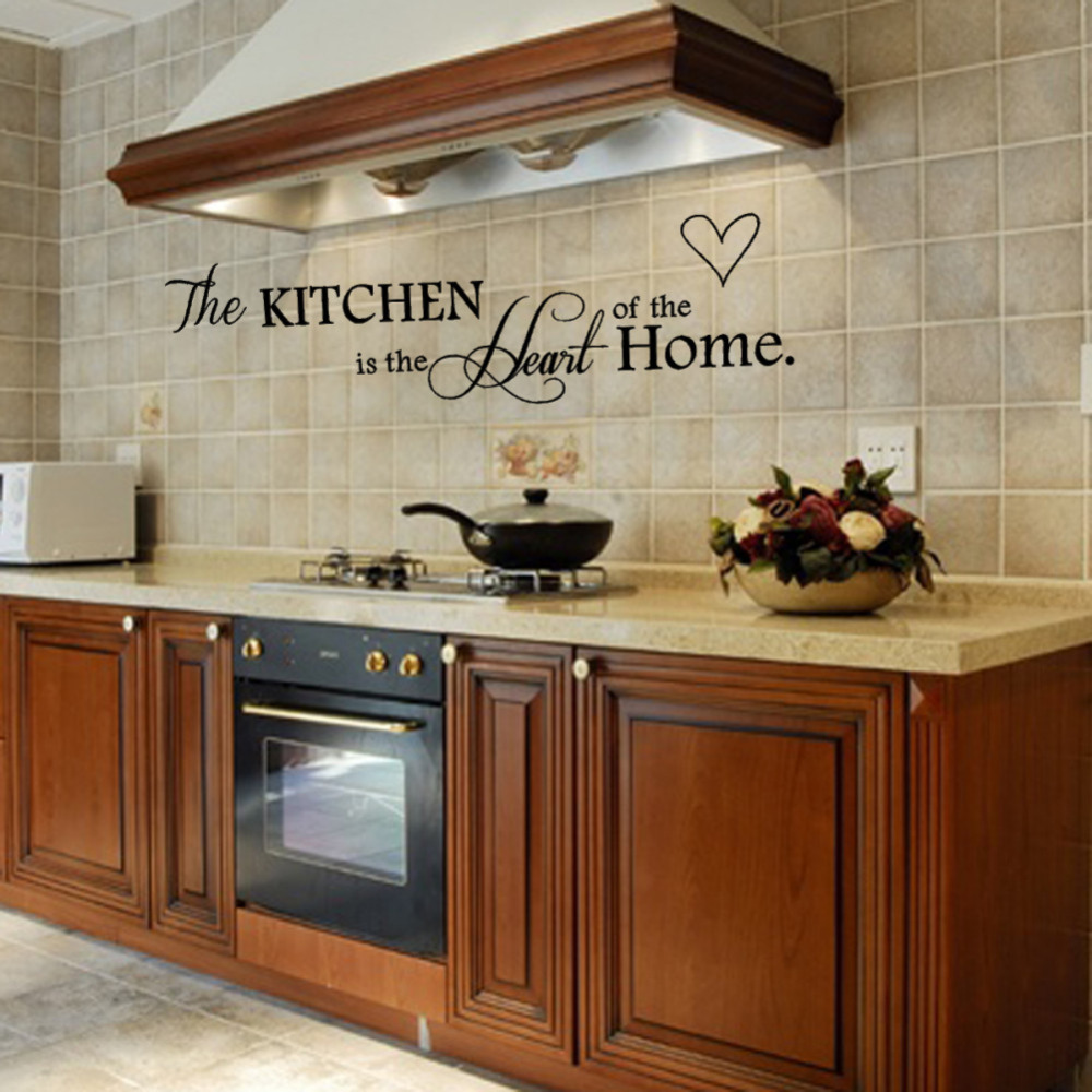 Removable Black Quote Kitchen is Heart of Home Sayings Design Wall Sticker Art Mural DIY Decor(China (Mainland))