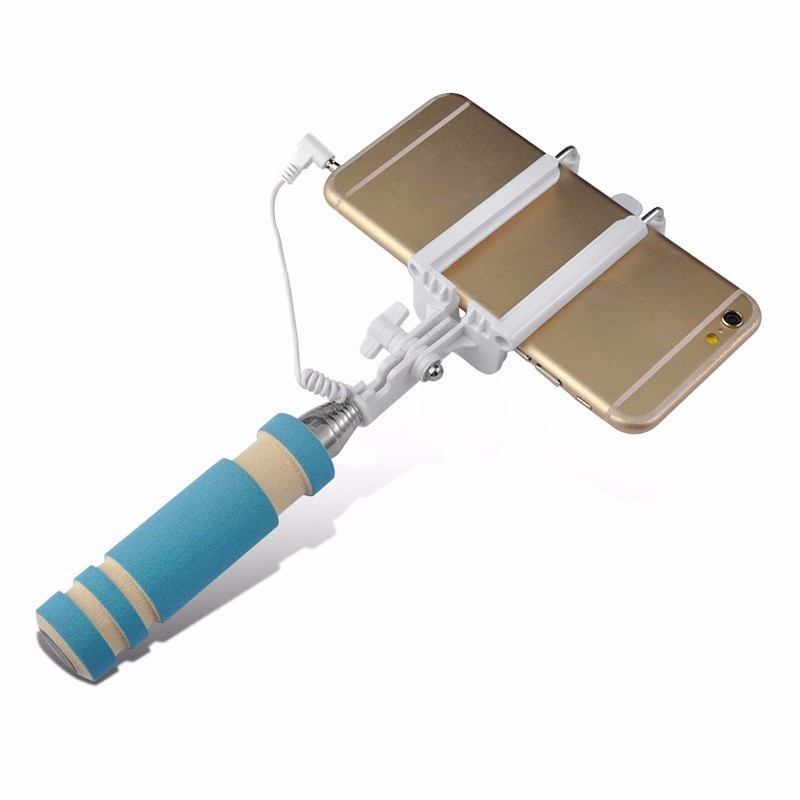 Mini Extendable Handheld Selfie Stick Wired Remote Shutter Monopod For IOS Android Mobile Phone