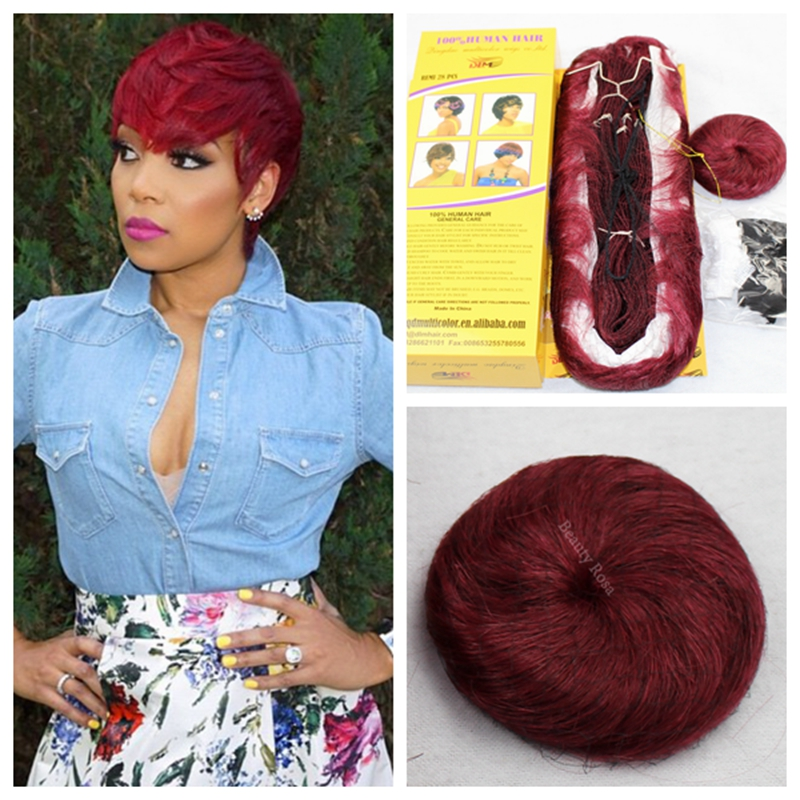 Authentic 27 Pcs Virgin Human Hair Weave #39J Red and #99J Dark Wine Bump Short Hair Weave With ...