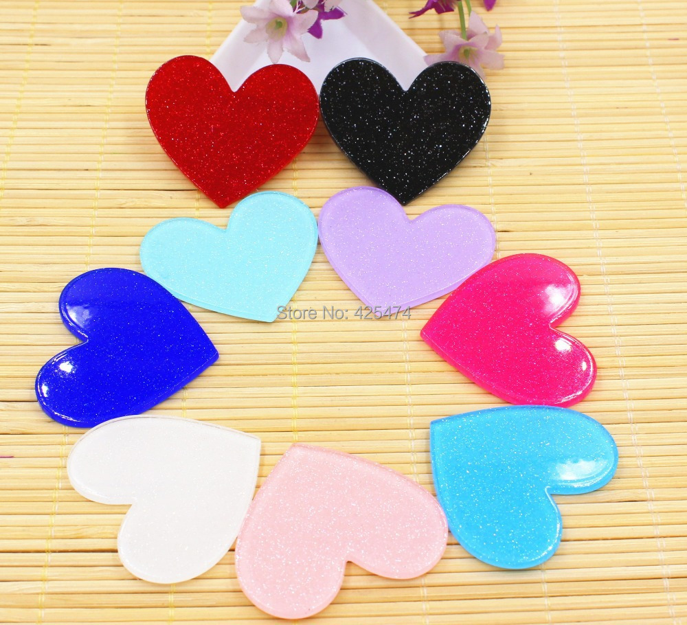 Factory Direct Sell Mixed Color Glitter Planar Resin Heart Cabochon for DIY Toddler Girl Jewelry Decoration Flatback Resin Craft(China (Mainland))