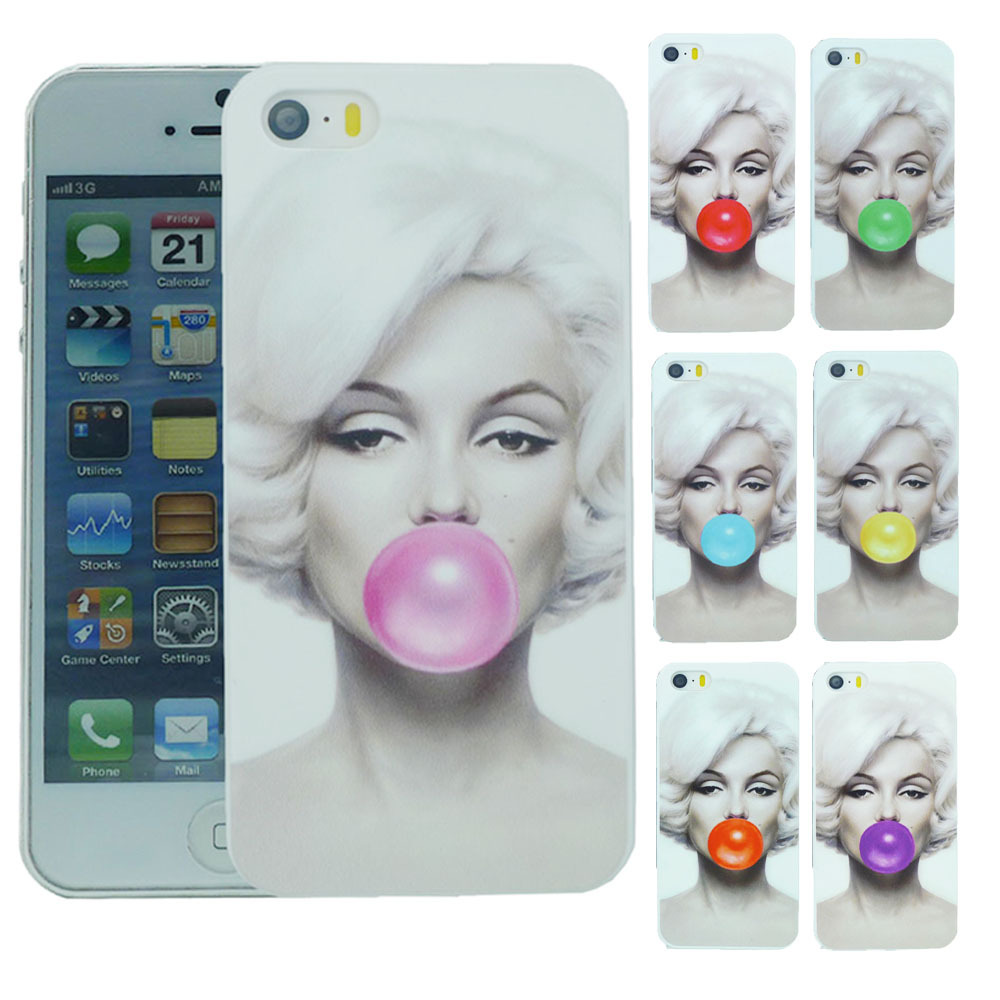 Stylish Marilyn Monroe Bubble Gum Protective Back Hard Cover Case For Apple i Phone iPhone 6 iPhone6 4.7 inch Free Shipping(China (Mainland))