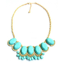 Fashion Summer 18K Gold Plated Short Pendant Necklace Green Acrylic Crystal Rhinestone  Necklace For Women 3 Colors (China (Mainland))