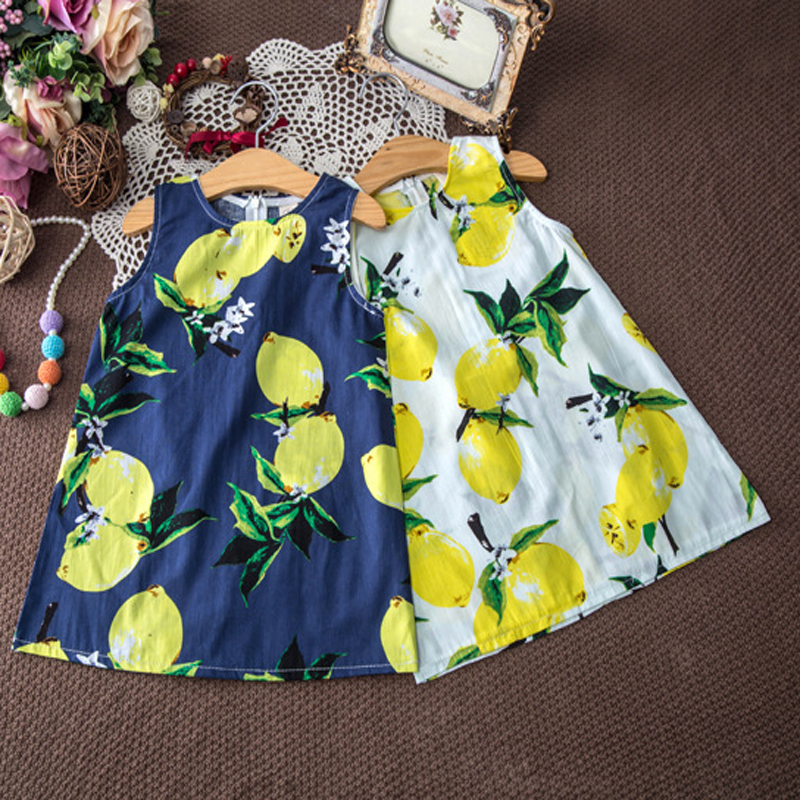 Kids Dresses for Girls Children Girl Summer Dress Kids Clothes ropa de ninas Cotton Lemon Print Yellow Sundress Girls Dresses(China (Mainland))