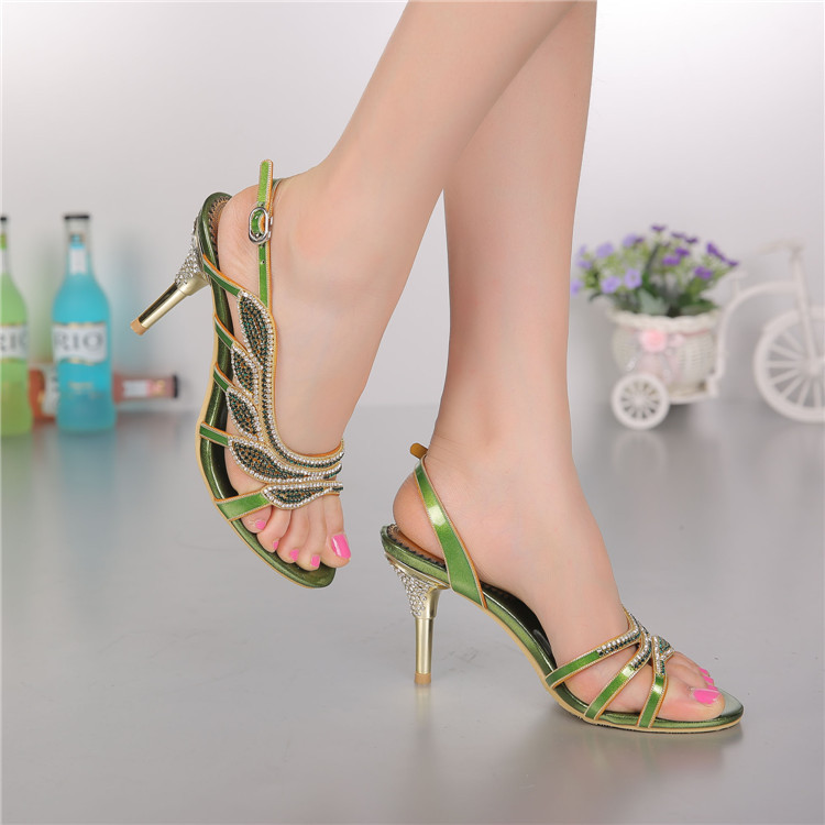 High Heels Women's Pumps Summer 2016 New Leather Sandals Peep-Toe Luxury Brand Manual Diamond Leaf Shiny Buckle Wedges Shoes