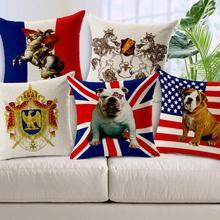 Lovely British Flag Dog Pet Printed Linen Cotton Waist Cushion Cover For Sofa Chair