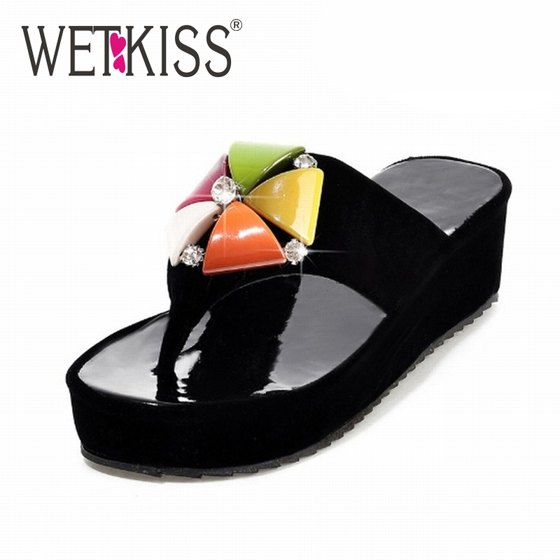 2016 Colorful Rhinestone Slides New Flip Flops Wedges Women Sandals Thick Sole Casual Shoes Woman Platform Shoes 32-43 Sandal(China (Mainland))