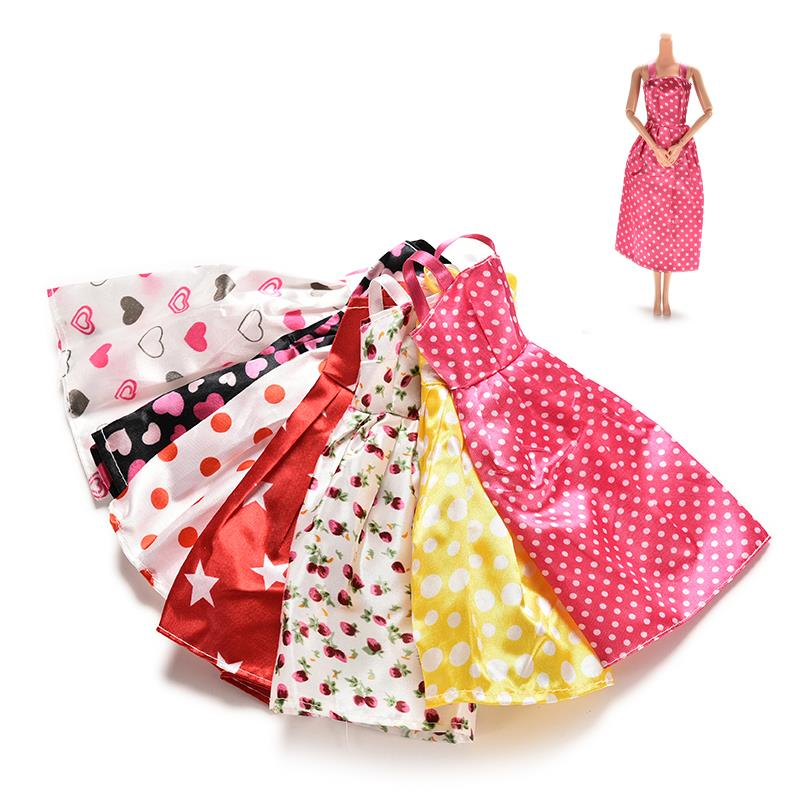 7 Pcs Lovely Handmade Party Clothes Fashion Dress for Barbie Doll Mixed Style Dresses Kids Dolls Clothes Accessories(China (Mainland))
