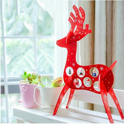 Free Shipping XMAS Gift 1pc mini table Decoration wood Christmas deer with ornament for X'mas, More Than $100 TNT Free Shipping(China (Mainland))