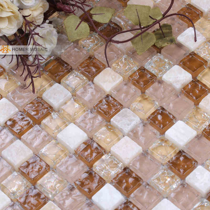 ice crakle glass mixed stone mosaic bathroom wall mosaic bathroom floor tiles backsplash mosaic tile free shipping<br><br>Aliexpress