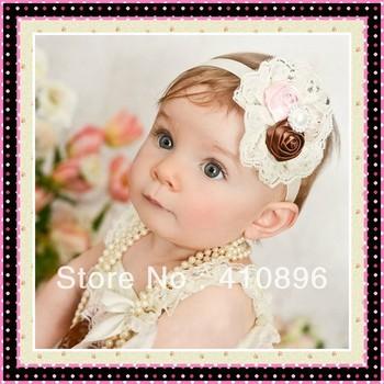 Baby Headband hairband head band lace big flower princess headband , European market