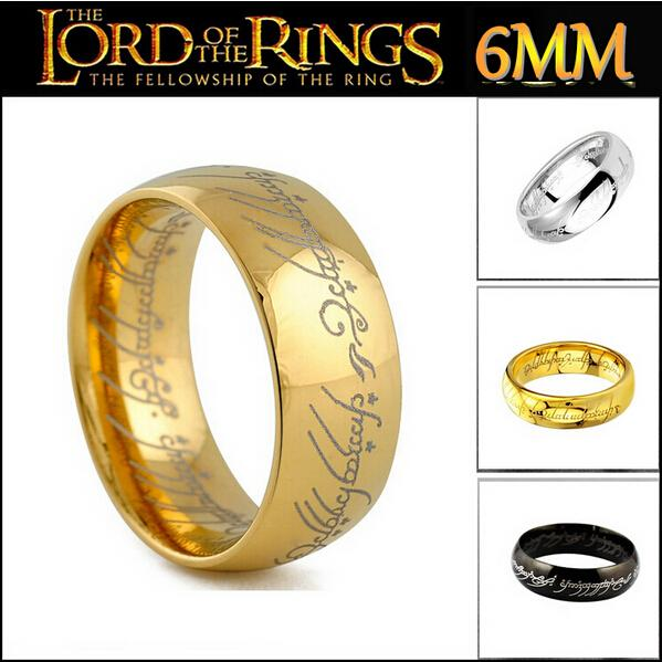 Fine Jewelry Men 18K Gold Filled Lord Of The Rings Ring Black Tungsten Harry Hobbit Ring