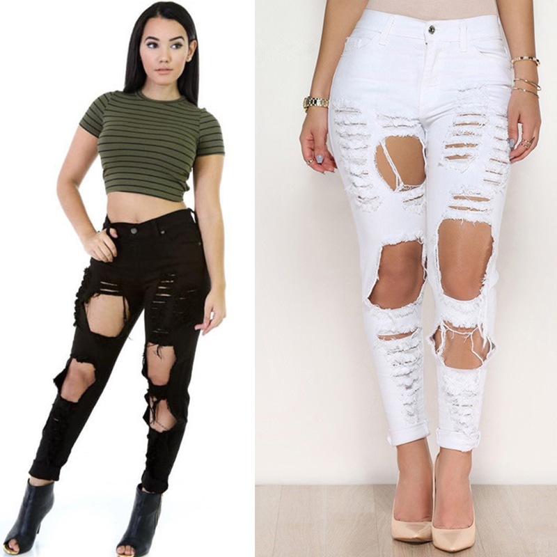 Online Buy Wholesale black ripped jeans woman 2016 big size from