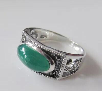 925 Thai silver retro green agate finger rings female models marks race ring(China (Mainland))
