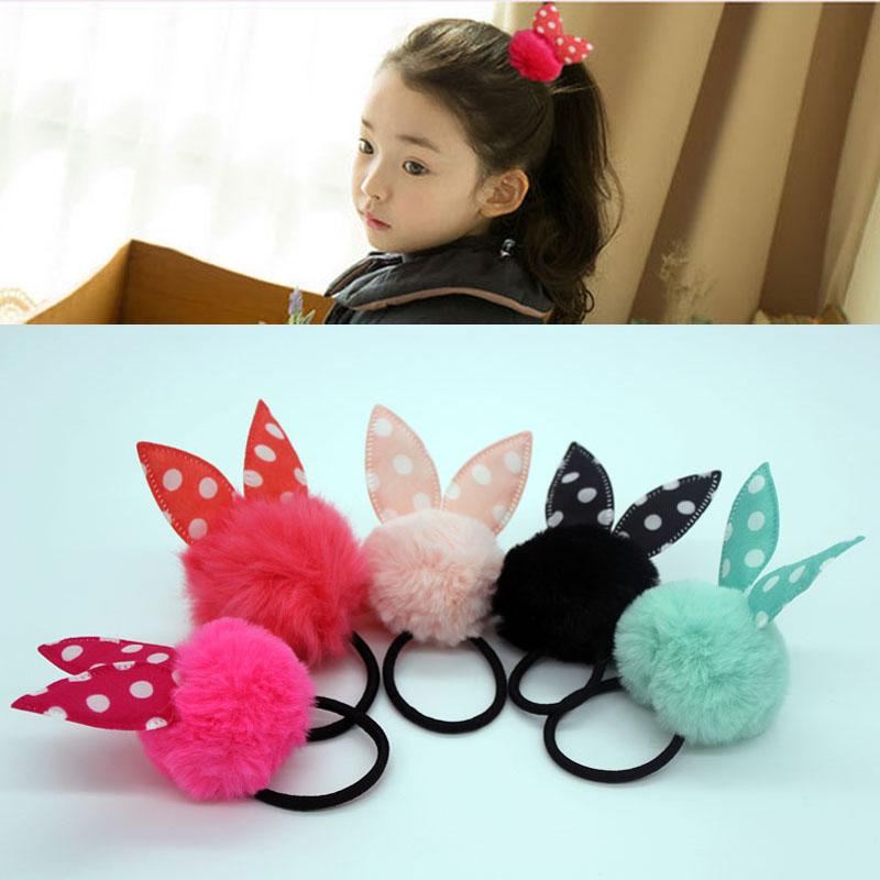 Fashion dot rabbit ears headband pom pom softball elastic hair rubber bands for women girls kids ponytail holder accessories(China (Mainland))