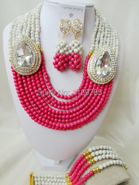 Fashion Nigerian African Wedding Beads Jewelry Set , Stone Necklace Bracelet Earrings Set A-8515<br><br>Aliexpress
