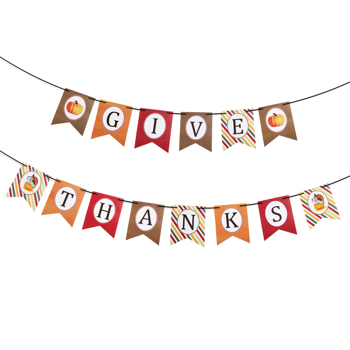 Festive Party Hanging Banner Thanksgive Paper Festoon Thanksgiving Decor with Black Silk Ribbon(China (Mainland))