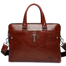 Luxury Leather Attache Case Men Briefcase Male Leather Office Bags for Men Work Bag Leather Laptop Bag Over Shoulder 2016(China (Mainland))