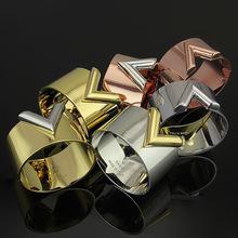 38 мм V браслет высокого качества способа посеребренная браслет для женщин Нержавеющей Стали 316L манжеты браслет Bijoux Ювелирные Изделия(China (Mainland))