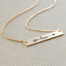 Romantic cupid love letter stainless steel gold silver chain arrow necklace pendant collier femme statement necklaces for women(China (Mainland))
