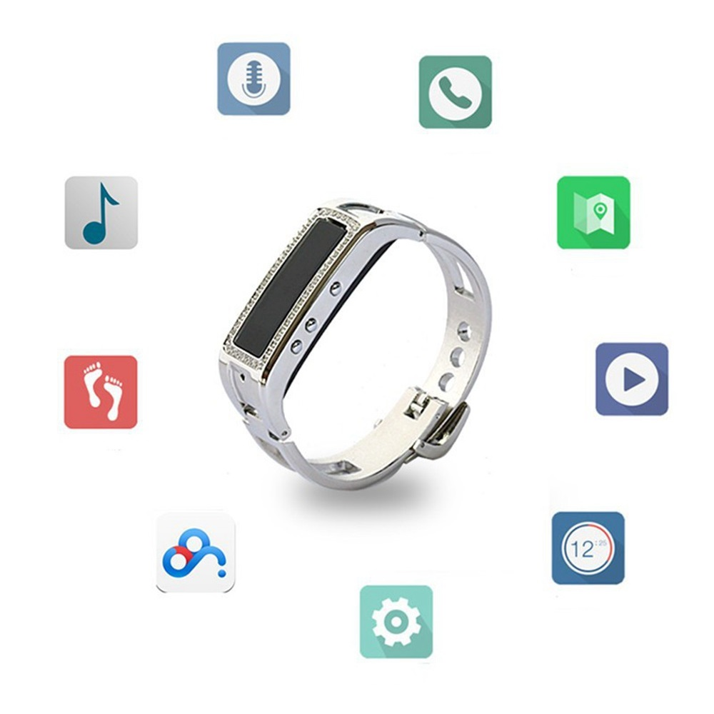 Bluetooth Health Smart Bracelet Wrist Band Y3 Diamond and Metal Strap with Music Player Phone Call for Women Girl Lady(China (Mainland))