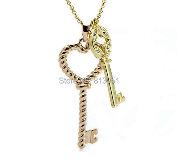 Free shipping!!!Zinc Alloy Sweater Chain Necklace,clearance sale with free shipping, with iron chain, Key, plated