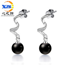 The heart of the decorated silver plated 2016 agate earring female hypoallergenic earrings earrings wholesale Korea temperament(China (Mainland))