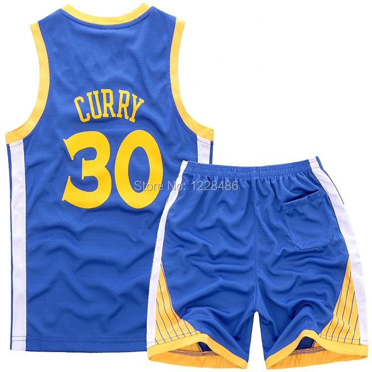 Kids Basketball #30 Stephen Curry jersey 2015 Curry Golden State Blue white youth / boys / child Basketball Jersey+short(China (Mainland))