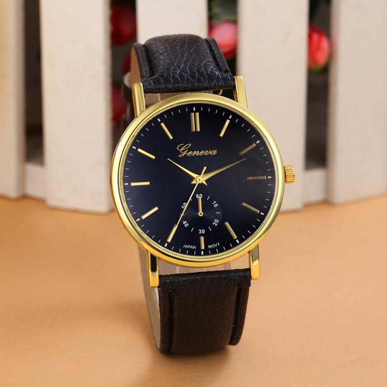 High Quality New Geneva Unisex Leather Band Analog Quartz Vogue WristWatch Watches 8 Colors Free Shipping(China (Mainland))