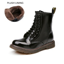 Big Size 10~13 Real Leather Martins Women Boots Motorcycle Military Girls Casual Walking Shoes Winter Femme Bota Chaussure 2016(China (Mainland))