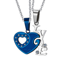 Men Women rhinestone Necklaces Pendants 316L Stainless Steel Heart Style Lovers Pendants I Love You Jewelry Four Kinds Of Colors(China (Mainland))