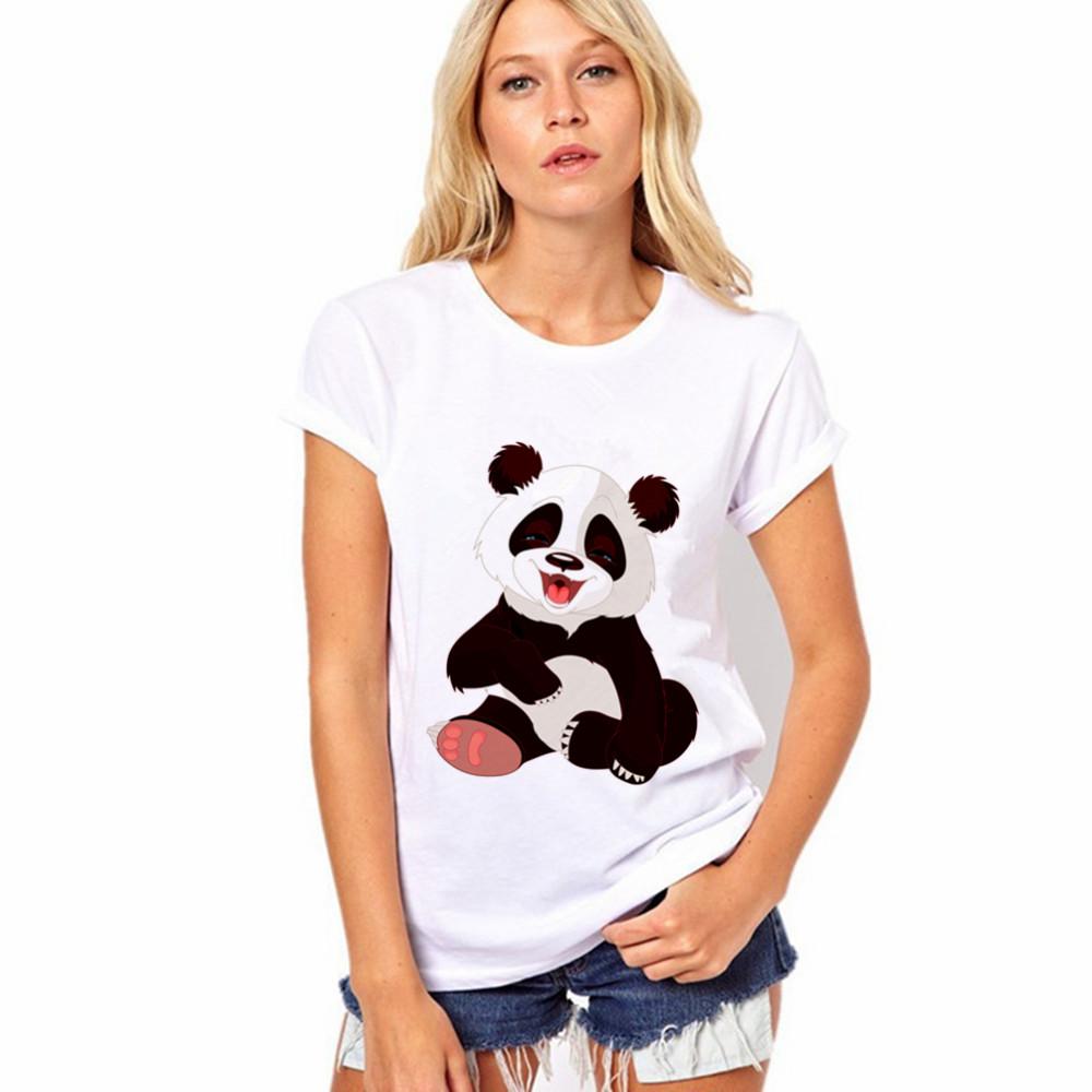 2017 Selling Fashion Round Collar T Shirt Print Finger Adorable Panda Cute T-Shirt Women Summer Clothes Casual CDJLFH(China (Mainland))