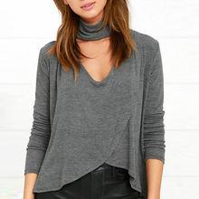 Blusas 2017 Women Shirts Fashion Black Sexy Halter V Neck Blouse Shirt Women Plus Size Blouses Solid Long Sleeve Grey Women Tops