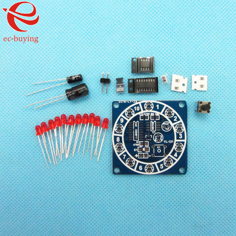 Round Lucky Rotary Suite Electronic Component Fortune CD4017 NE555 Interesting DIY Kit Wheel Electronic Parts 5 pcs(China (Mainland))