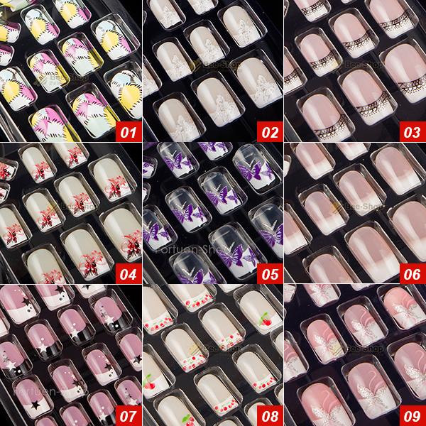 27 Style Options 24pcs Per Set Acrylic Full Cover Nail Tips False Nail Art With Glue Artificial Pre Designed Fake Nail Tips(China (Mainland))