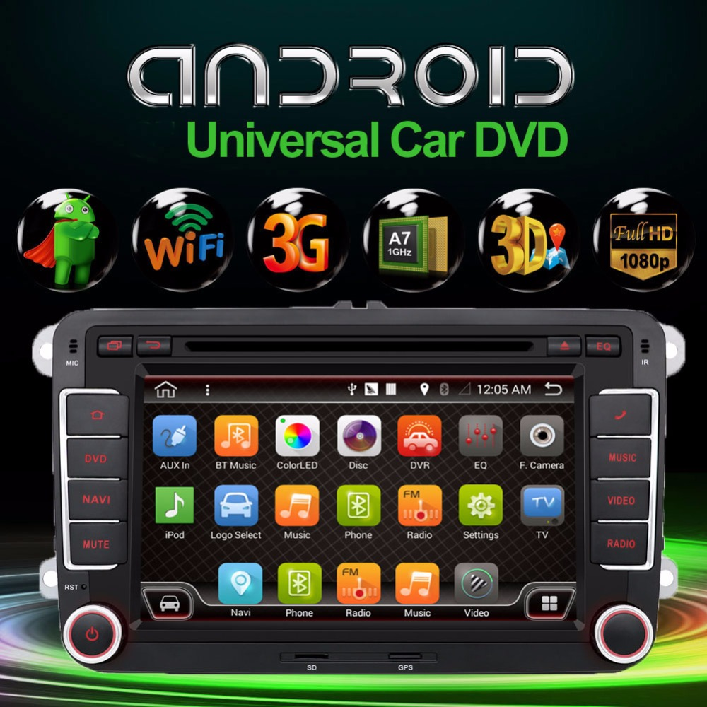 Android 4.4.4 New 7Inch 2 DIN 800*480 Car DVD GPS For VW Passat B6 / B7 / Passat CC with WiFi and free 8G Card and Map(China (Mainland))
