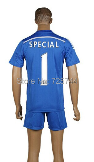 New season 14/15 Chelsea Home #1 Special Blue Soccer Jersey kit embroidery logo(China (Mainland))