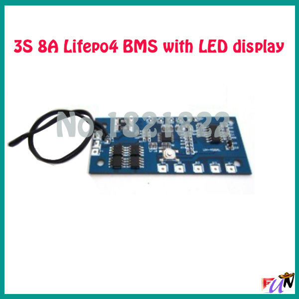 3S 8A lifepo4 9.6V 18650 BMS PCM battery protection board bms pcm for lifepo4 battery cell pack with Led display(China (Mainland))